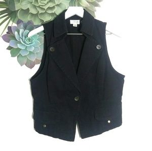 LOFT Black Button Front Vest Jacket